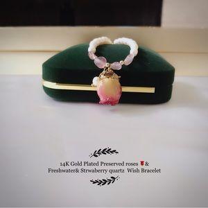 14K gold plated preserved rose & strawberry Quartz Gemstone bracelet